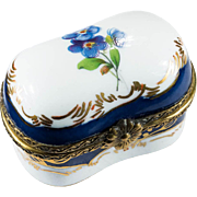 Limoges Bluebell Flower Hand Painted Gold Leaf Porcelain Trinket Box