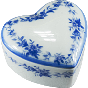 Blue Flower Wreath Limoges Heart Trinket Box