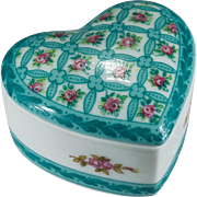 Gorgeous Turquoise Rose Heart Porcelaine De Paris Trinket Box