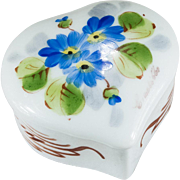Limoges Hand Painted Flowers Heart Trinket Box