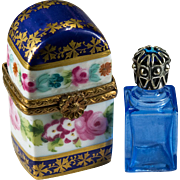 Limoges Hand Painted Single Blue Perfume Bottle Trinket Box