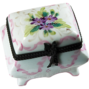Limoges Trinket Box Rochard Hand Painted Footed Flowers Trinket Box Signed MC