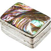Vintage Abalone Shell Sterling Trinket Pill Box
