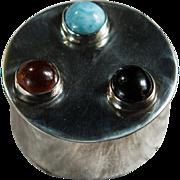 Genuine Amber Onyx Larimar 925 Sterling Silver Snuff Box Pill Box Trinket Box Jeweled