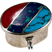 Stone Inlay Sterling Silver Pill Box
