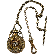 Antique Old European Cut Georgian Paste Perfume Bottle Pendant 14k Gold Watch Fob Chain Clip