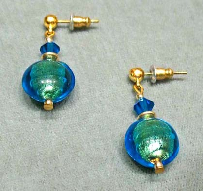 Dazzling Venetian Art Glass Earrings w/ 24K Gold Foil -  Murano Teal-Blue Lentil Beads