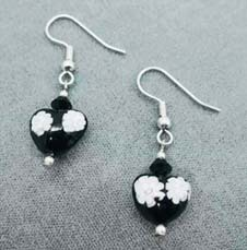 Fabulous Venetian Millefiori Art Glass Earrings, Hearts – Black & White Murano Glass Beads