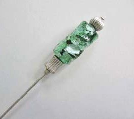 Exquisite Teal Venetian Art Glass Stick Pin RARE - Antique Venetian Glass Silver Foil Bead