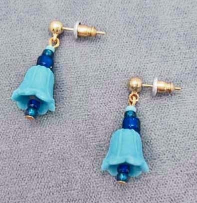 Fabulous Venetian Art Glass Bell Earrings - RARE 1930's Turquoise Venetian Beads