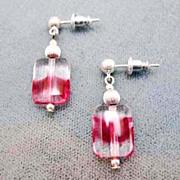 Gorgeous Magenta German Art Glass Earrings, RARE 1940's German Glass Beads