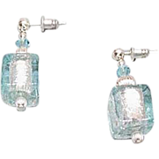 Stunning Aquamarine Venetian Art Glass Earrings, Silver Foil Murano Glass Beads, Cube