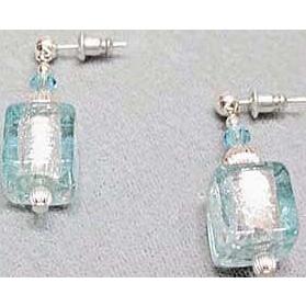 Stunning Aquamarine Venetian Art Glass Earrings, Silver Foil Murano Glass Beads, Cube