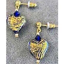 Gorgeous Venetian Art Glass Earrings, Cobalt Blue 24K Gold Foil Murano Glass Hearts
