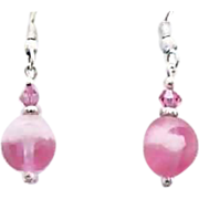 Gorgeous Pink Czech Art Glass Earrings, SCARCE 1950's Frosted Czech Glass Beads