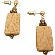 Fabulous Ochre West German Art Glass Earrings, SCARCE 1940's German Pressed Glass Beads