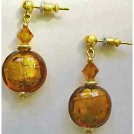 Dazzling Venetian Art Glass Earrings, 24K Gold Foil,  Topaz Murano Glass