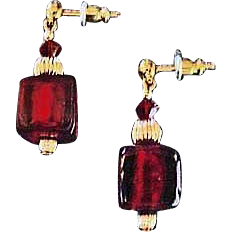 Gorgeous Red Venetian Art Glass Earrings, 24K Gold Foil, Murano Glass Beads