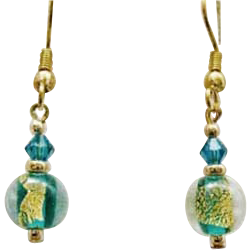 Fabulous Teal Venetian Art Glass Earrings, 24k Gold Foil, Murano Glass Beads