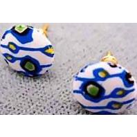 Mod Czech Art Glass Pierced Earrings, Rare 1960's Czech Glass Beads, Retro