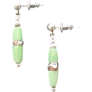 Stunning Green Venetian Art Glass Earrings, RARE Silver Foil Venetian Glass Beads
