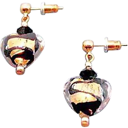 Gorgeous Venetian Art Glass Earrings, Black Swirl 24K Gold Foil Murano Glass Hearts