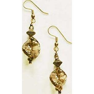 Fabulous Aventurina Venetian Art Glass Earrings, Copper, Bronze