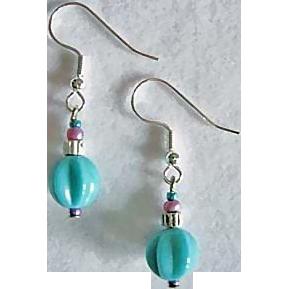 Stunning Teal Venetian Art Glass Earrings, RARE 1940's Venetian Glass Beads