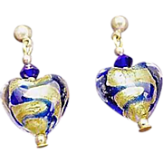 Gorgeous Venetian Art Glass Earrings, 24K Gold Foil Hearts, Murano Glass, Blue Swirls