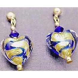 Gorgeous Venetian Art Glass Earrings, 24K Gold Foil Hearts, Murano Glass, Blue Swirls