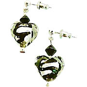 Gorgeous Venetian Art Glass Earrings, Black Swirl Silver Foil Murano Glass Hearts