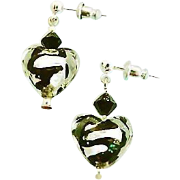 Gorgeous Venetian Art Glass Earrings, Black Swirl Silver Foil Murano Glass Hearts