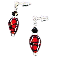Fabulous German Art Glass Earrings, Red, Black & Silver, SCARCE German Glass Beads