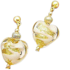 Gorgeous Venetian Art Glass Earrings, White Swirl 24K Gold Foil Murano Glass Hearts