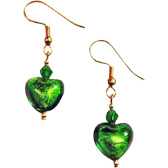 Stunning Green Venetian Art Glass Earrings, 24K Gold Foil Murano Glass Hearts
