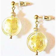 Stunning Venetian Art Glass Earrings, 24K Gold Foil Murano Glass Lentil Beads