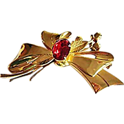 GORGEOUS Red Rhinestone Flower Bow Brooch, Goldtone, Vintage