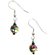Fabulous Czech Art Glass Earrings, SCARCE 1960's Czech Glass Beads