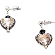 Fabulous Venetian Art Glass Earrings, Charcoal Gray Murano Silver Foil Hearts