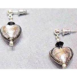 Fabulous Venetian Art Glass Earrings, Charcoal Gray Murano Silver Foil Hearts