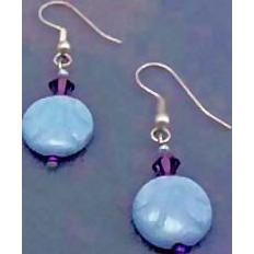 Stunning Art Deco Czech Glass Earrings, RARE 1930's Czech Deco Glass Beads, Aquamarine