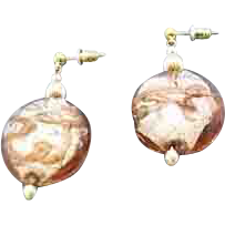 Dazzling Venetian Art Glass Earrings, Silver Foil Murano Glass Beads, Aventurina