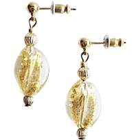 Stunning Twisted Venetian Art Glass Earrings, 24K Gold Foil Murano Glass Beads