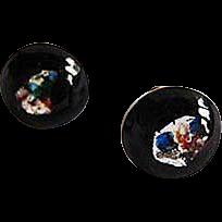 Dazzling German Art Glass Earrings, SCARCE 1960's Black & Silver Foil Beads