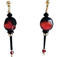 Gorgeous German Art Glass Earrings, RARE 1940's Faceted German Glass Beads, Red & Black