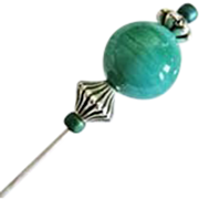 Stunning Art Deco Venetian Glass Stick Pin, RARE 1930's Satin Glass Venetian Bead