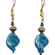 Gorgeous Turquoise Aventurina Venetian Art Glass Earrings