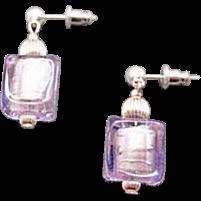 Dazzling Alexandrite Venetian Art Glass Earrings, Silver Foil Murano Glass Beads, Cube