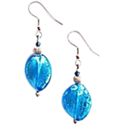 Gorgeous Twisted Venetian Art Glass Earrings, Aegean Blue & Silver Foil Murano Glass Beads
