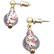 Stunning Czech Art Glass Earrings, Crystal Czech Silver Foil Beads, Roses